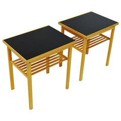Swedish Pair of Midcentury Oak and Glass Top Side Tables, 1960s