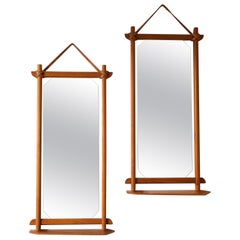 Swedish, Pair of Mirrors, Pine, Natural Leather, Mirror Glass, Sweden, 1960s