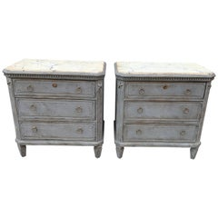 Swedish Pair of Painted Faux Marble Top Gustavian Style Dressers