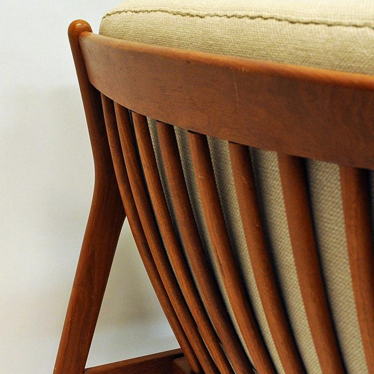 Swedish Pair of Teak Loungechairs Mod USA 75 by Folke Ohlsson for DUX, 1960s For Sale 3