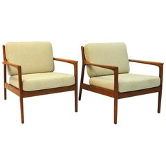 Swedish Pair of Teak Loungechairs Mod USA 75 by Folke Ohlsson for DUX, 1960s