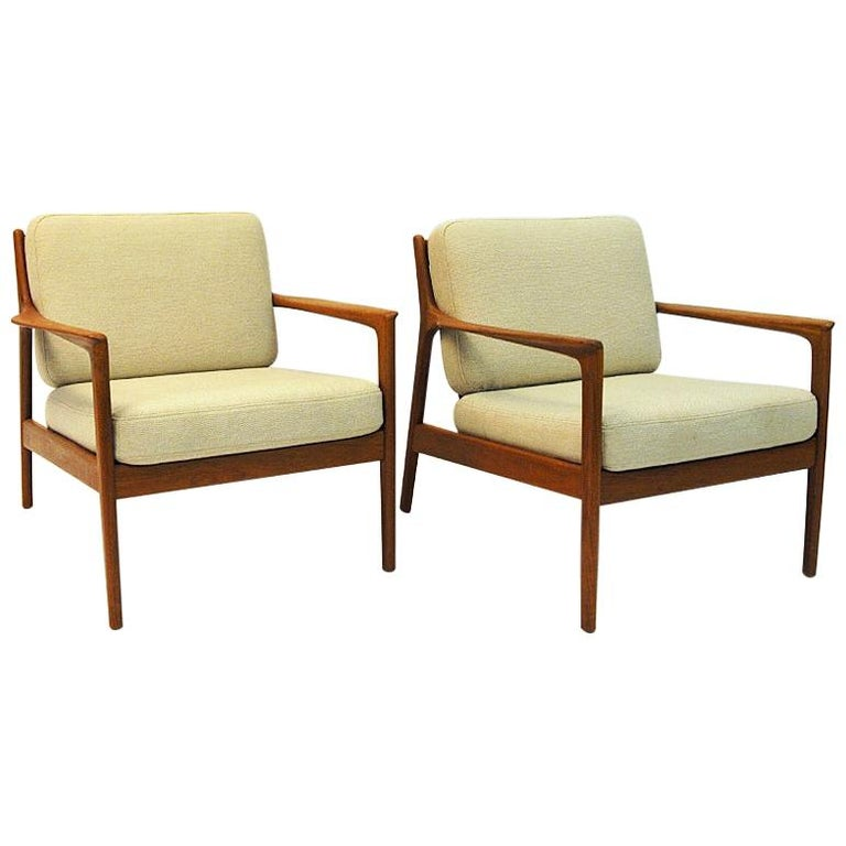 Swedish Pair of Teak Loungechairs Mod USA 75 by Folke Ohlsson for DUX, 1960s For Sale