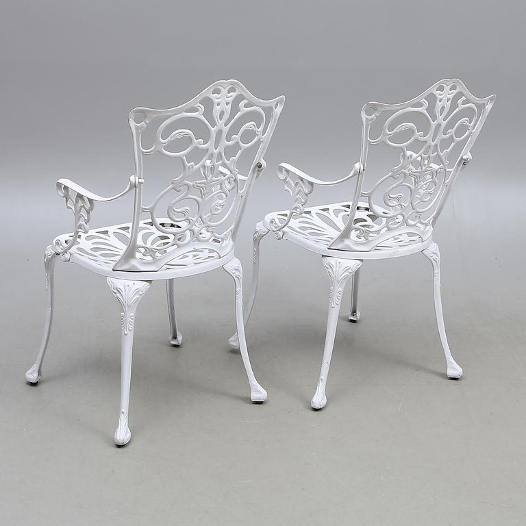 Swedish Park Garden Steel Armchairs In Excellent Condition For Sale In Vienna, AT
