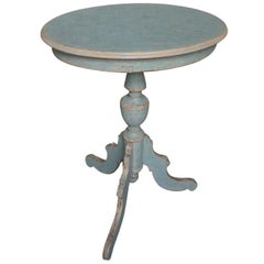 Swedish Pedestal Table in Blue Paint