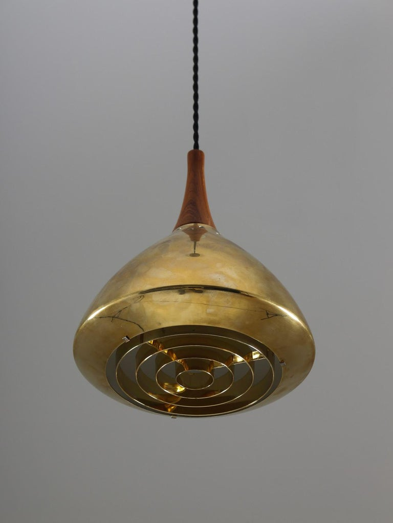 20th Century Swedish Pendant in Rosewood and Perforated Brass by Falkenberg For Sale