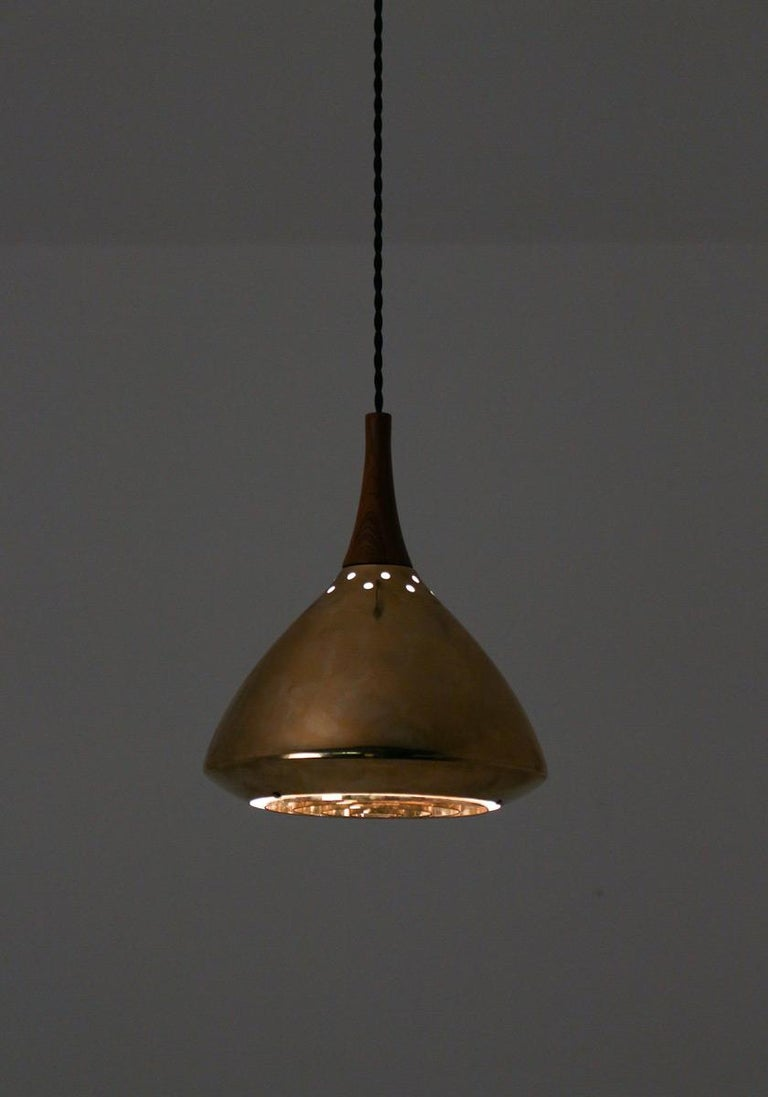 Swedish Pendant in Rosewood and Perforated Brass by Falkenberg For Sale 4