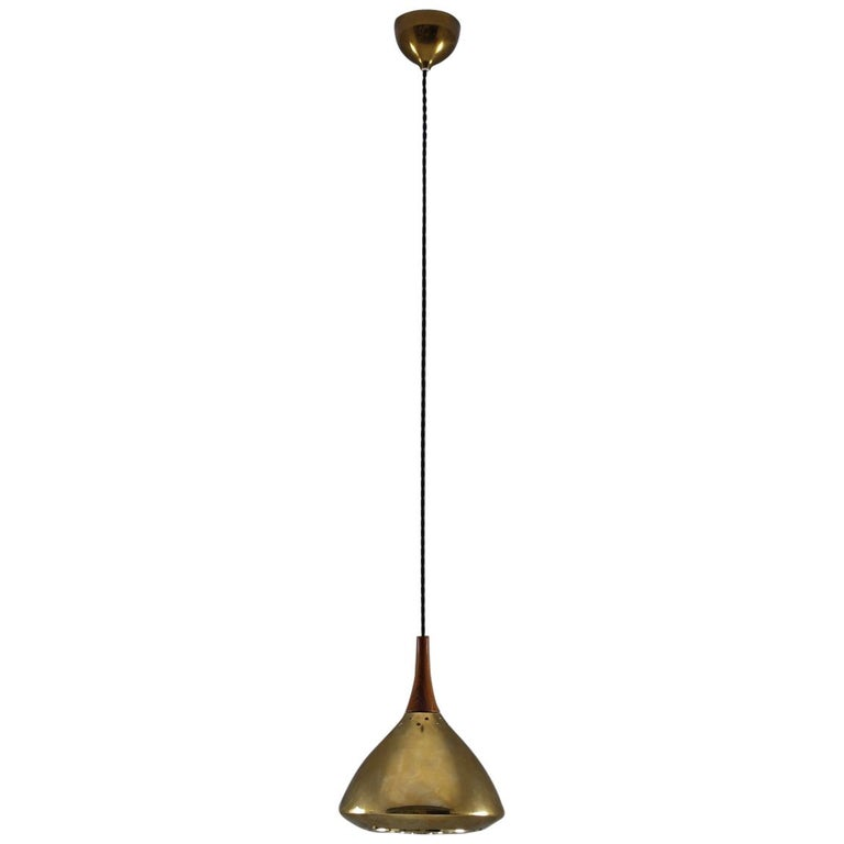 Swedish Pendant in Rosewood and Perforated Brass by Falkenberg For Sale