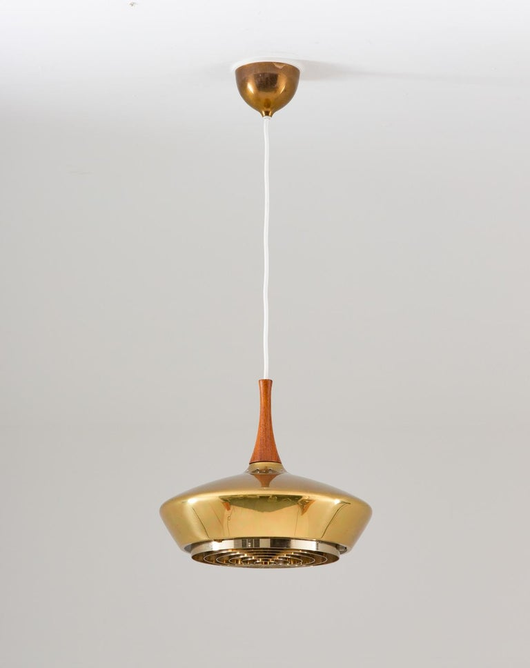 Mid-Century Modern Swedish Pendant in Wood and Perforated Brass by Fagerhult For Sale