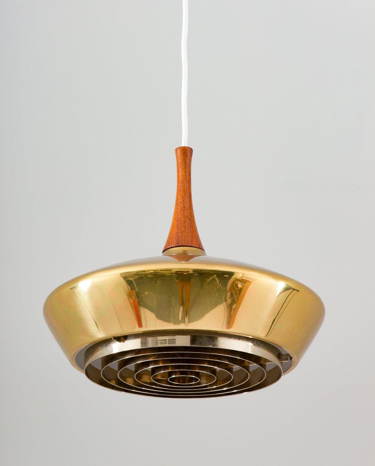 Swedish Pendant in Wood and Perforated Brass by Fagerhult In Good Condition For Sale In Karlstad, SE