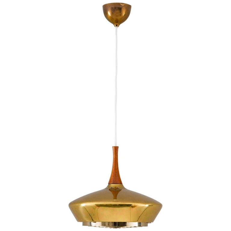Swedish Pendant in Wood and Perforated Brass by Fagerhult For Sale