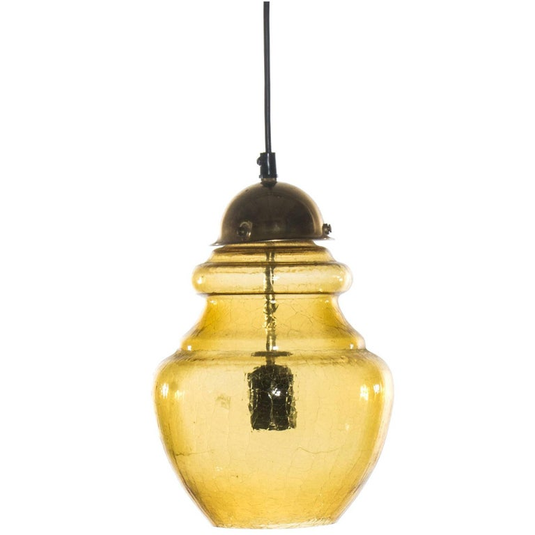 Swedish Pendant Light in Amber Colored Glass from 1960s