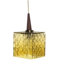 Swedish Pendant Light in Glass Patterned Glass and Teak and Brass Details