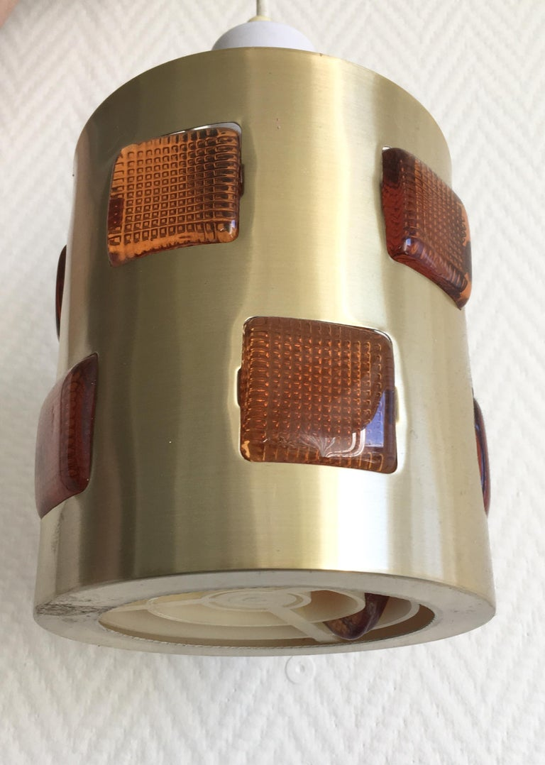 Mid-Century Modern Swedish Pendant or Ceiling Lamp Attributed to Einar Backstrom and Erik Hoglund For Sale