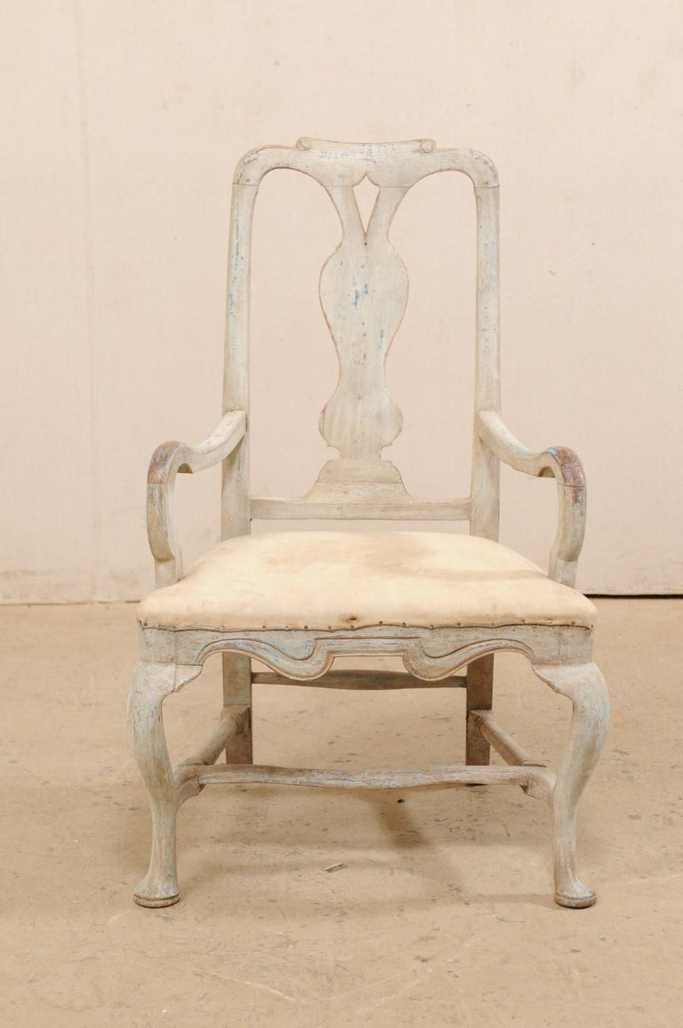 Swedish Period Baroque Armchair with Carved Splat-Back, Soothing Blue Palette For Sale 5