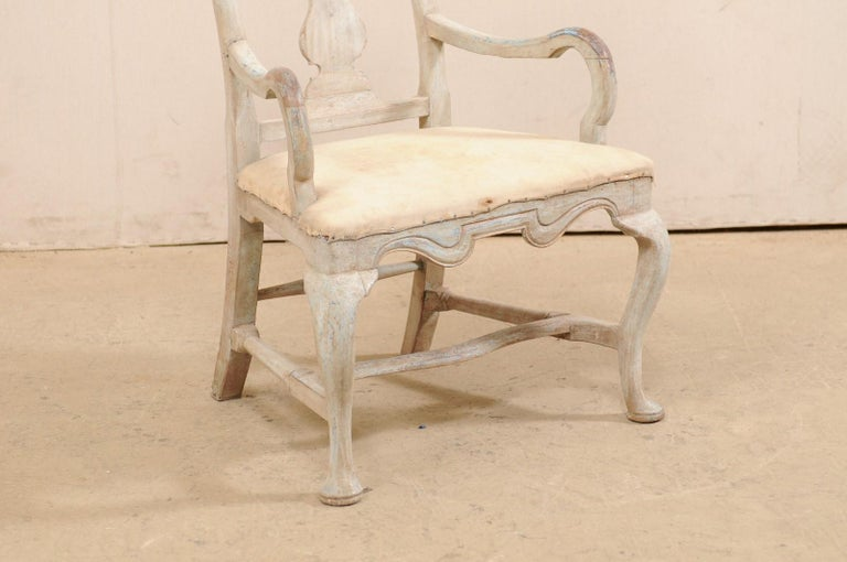 Swedish Period Baroque Armchair with Carved Splat-Back, Soothing Blue Palette In Good Condition For Sale In Atlanta, GA