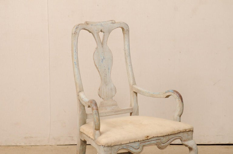 18th Century and Earlier Swedish Period Baroque Armchair with Carved Splat-Back, Soothing Blue Palette For Sale