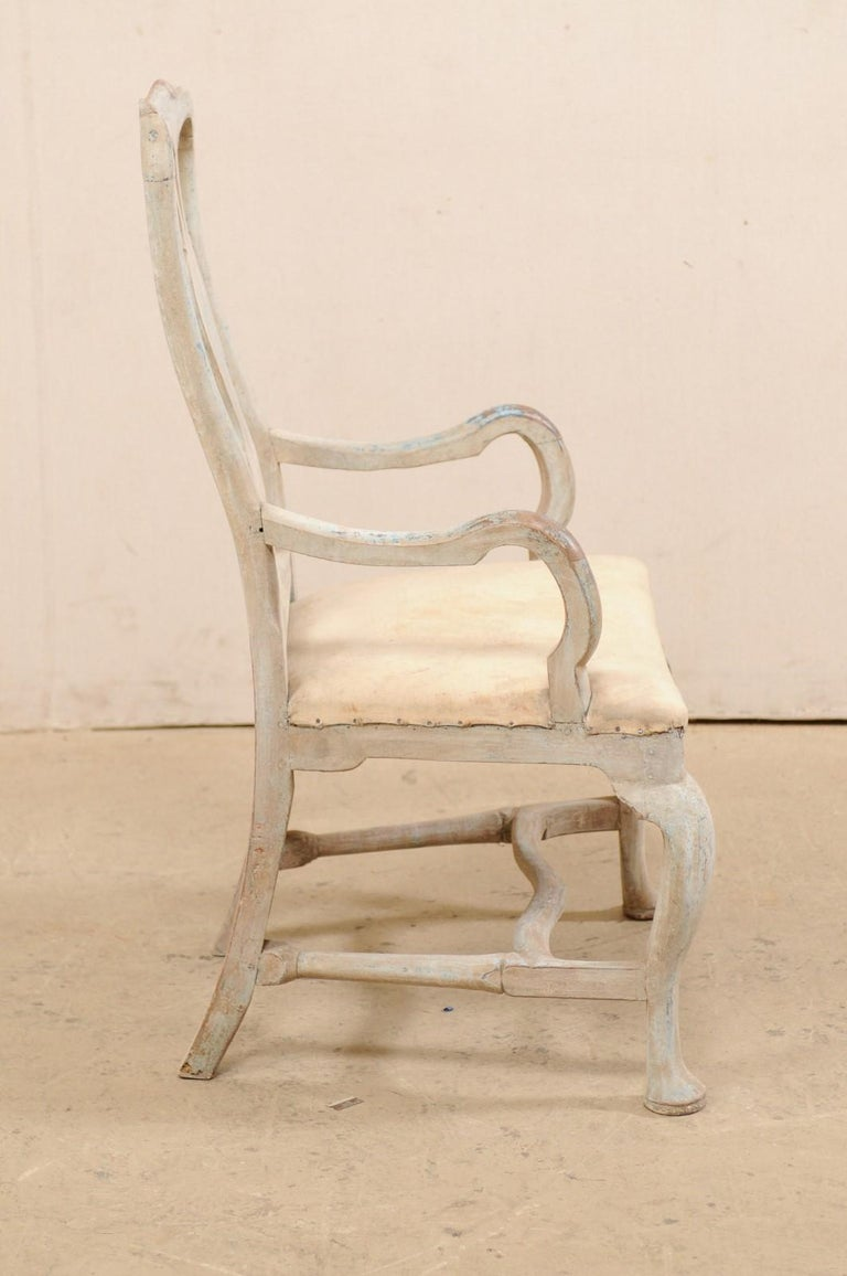 Wood Swedish Period Baroque Armchair with Carved Splat-Back, Soothing Blue Palette For Sale