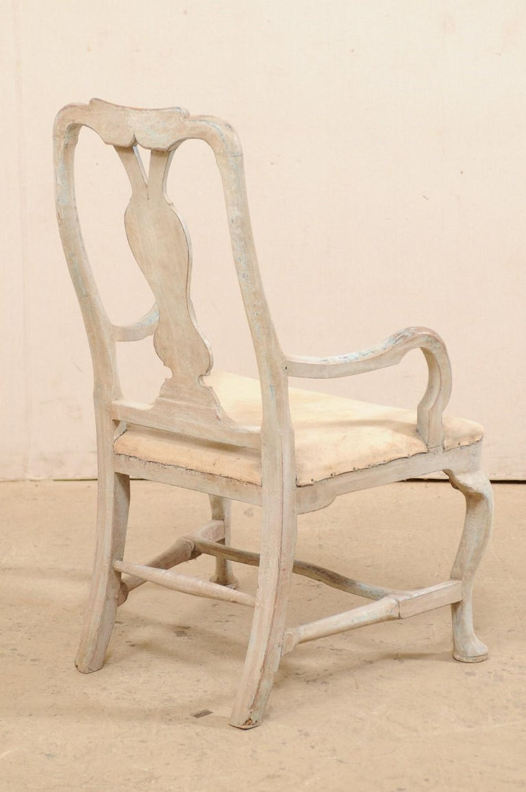 Swedish Period Baroque Armchair with Carved Splat-Back, Soothing Blue Palette For Sale 1