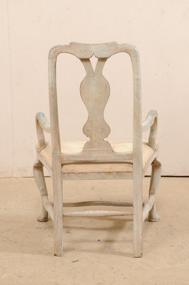 Swedish Period Baroque Armchair with Carved Splat-Back, Soothing Blue Palette For Sale 2