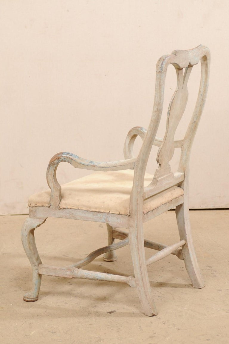 Swedish Period Baroque Armchair with Carved Splat-Back, Soothing Blue Palette For Sale 3