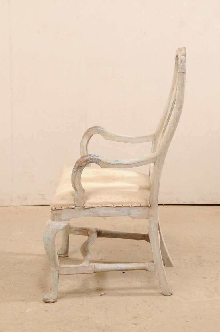 Swedish Period Baroque Armchair with Carved Splat-Back, Soothing Blue Palette For Sale 4
