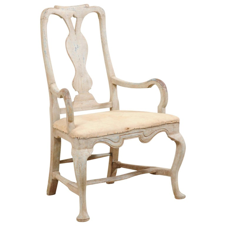 Swedish Period Baroque Armchair with Carved Splat-Back, Soothing Blue Palette For Sale