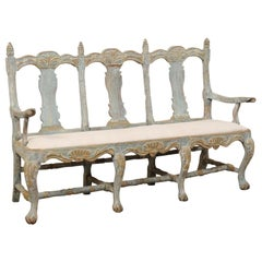 Swedish Period Baroque Carved Wood Three-Chair Back Bench with Upholstered Seat