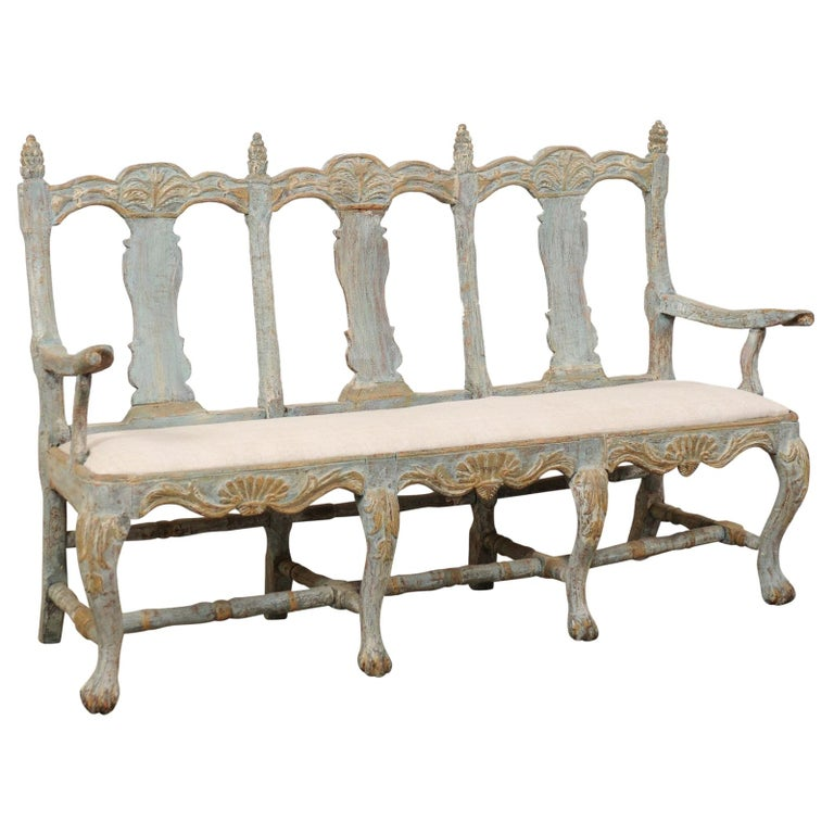Swedish Period Baroque Carved Wood Three-Chair Back Bench with Upholstered Seat For Sale