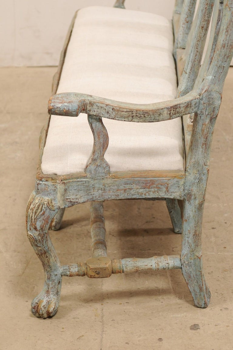 Swedish Period Baroque Carved Wood Three-Chair Back Bench with Upholstered Seat For Sale 4
