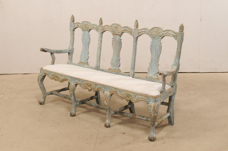 Swedish Period Baroque Carved Wood Three-Chair Back Bench with Upholstered Seat For Sale 5