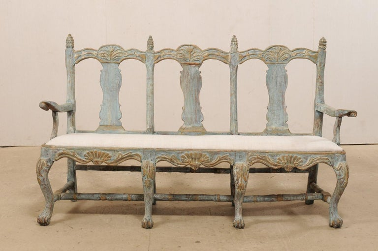 Hand-Carved Swedish Period Baroque Carved Wood Three-Chair Back Bench with Upholstered Seat For Sale