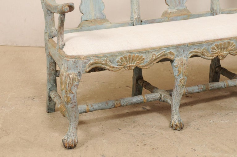Swedish Period Baroque Carved Wood Three-Chair Back Bench with Upholstered Seat In Good Condition For Sale In Atlanta, GA