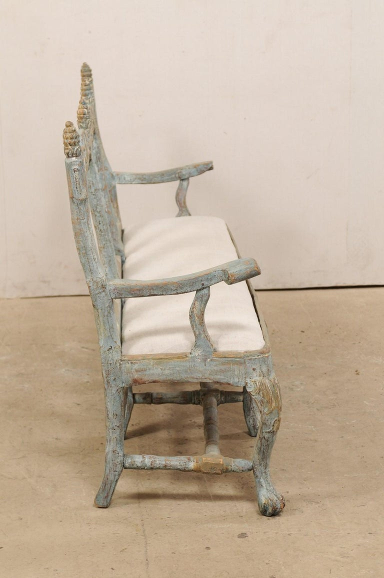 Linen Swedish Period Baroque Carved Wood Three-Chair Back Bench with Upholstered Seat For Sale