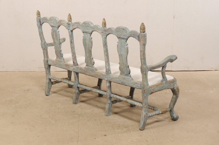 Swedish Period Baroque Carved Wood Three-Chair Back Bench with Upholstered Seat For Sale 1