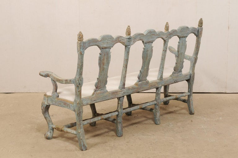 Swedish Period Baroque Carved Wood Three-Chair Back Bench with Upholstered Seat For Sale 2