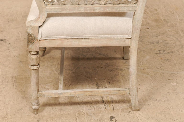 Swedish Period Late Gustavian Carved and Painted Wood Sofa Bench For Sale 6