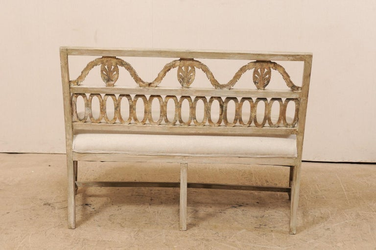 Swedish Period Late Gustavian Carved and Painted Wood Sofa Bench For Sale 7