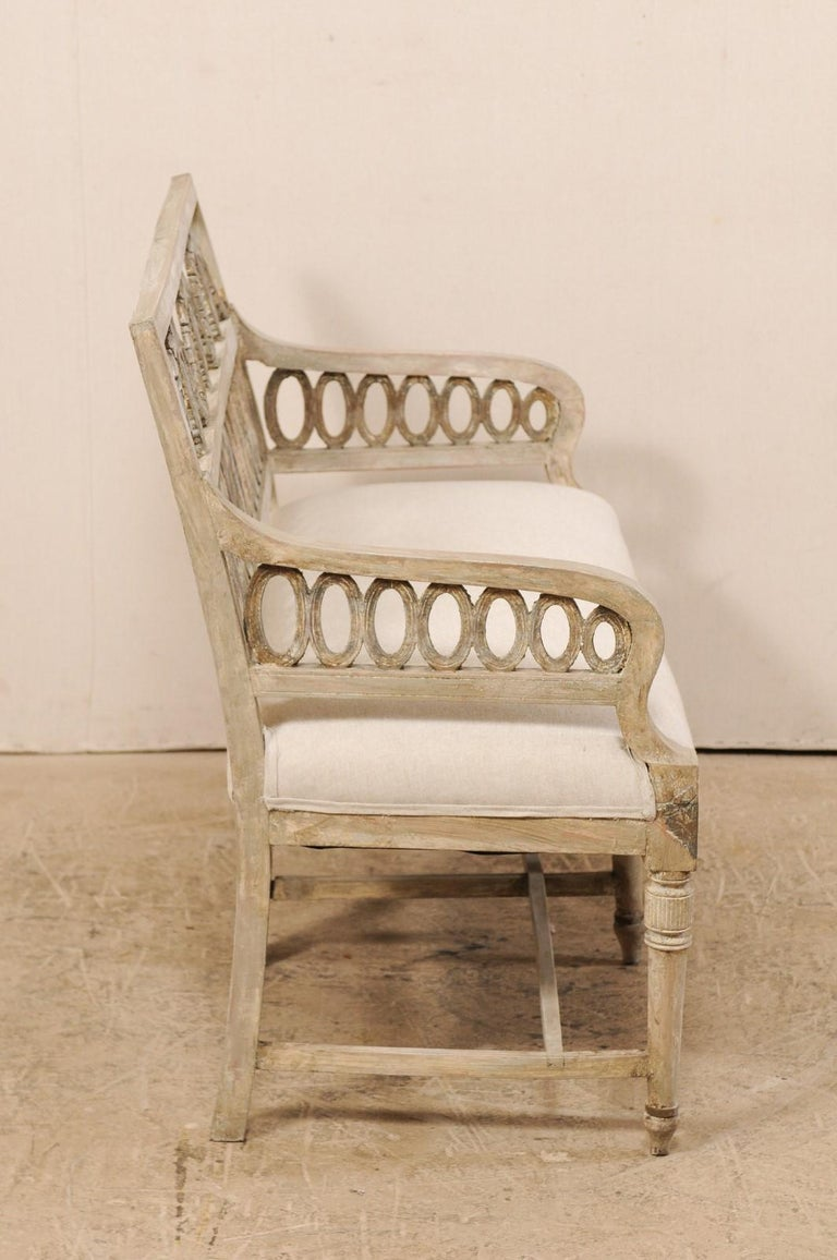 Swedish Period Late Gustavian Carved and Painted Wood Sofa Bench For Sale 4