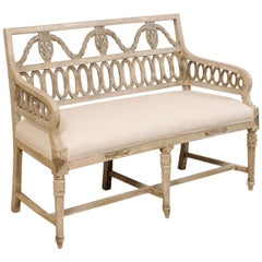 Swedish Period Late Gustavian Carved and Painted Wood Sofa Bench