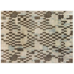 Swedish Pile Pastel Blue, Brown, Beige and Off-White Wool Rug