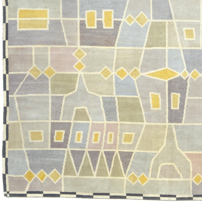 Swedish Pile rug by Edna Martin Sweden circa 1950 Handwoven Provenance: Dag Hammarskjold's private residence, NY.