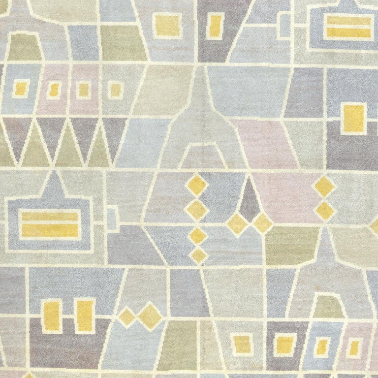 Hand-Woven Mid 20th Century Swedish Pile Rug by Edna Martin For Sale