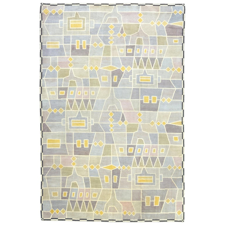 Mid 20th Century Swedish Pile Rug by Edna Martin For Sale