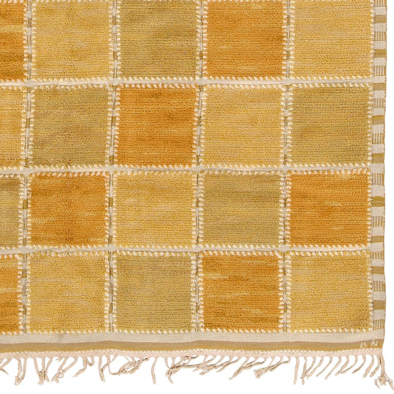 Scandinavian Modern Swedish Pile Rug by Märta Måås-fjetterström and Barbro Nilsson For Sale