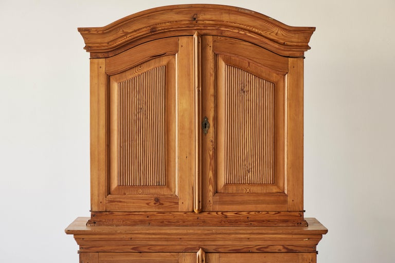 Swedish Pine Four Door Hutch In Good Condition For Sale In Los Angeles, CA