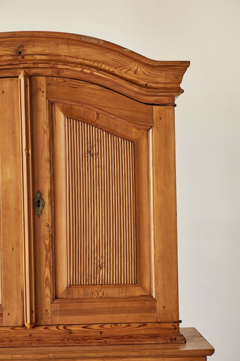 20th Century Swedish Pine Four Door Hutch For Sale