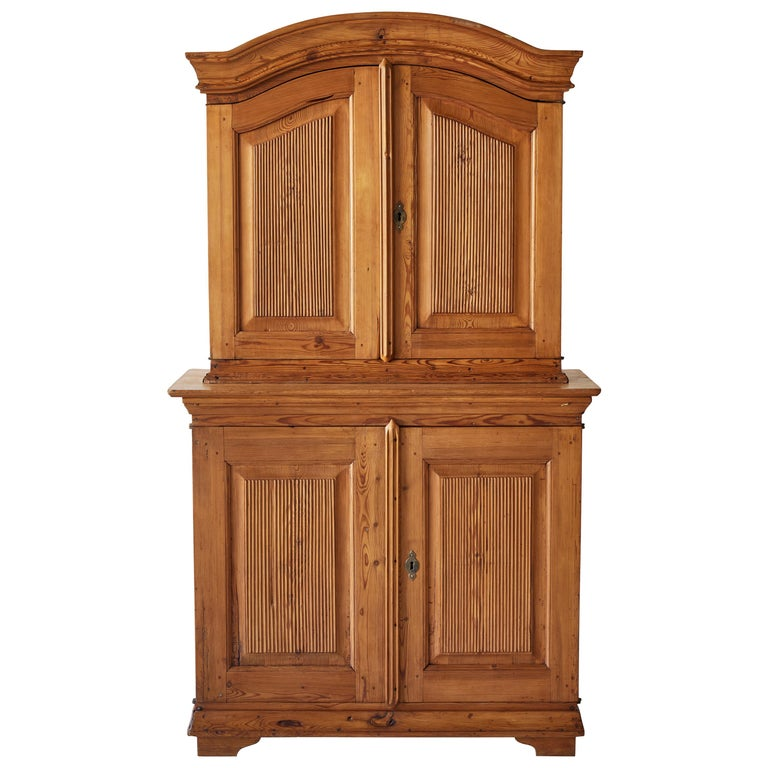 Swedish Pine Four Door Hutch For Sale