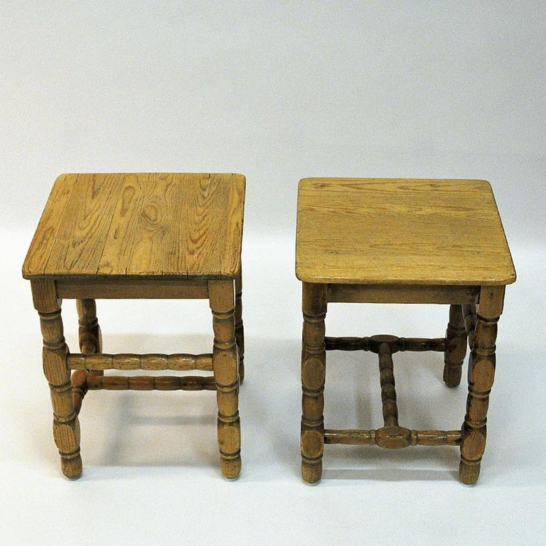 Swedish Pine Stool Pair in Barock Style, 1920s In Good Condition In Stockholm, SE