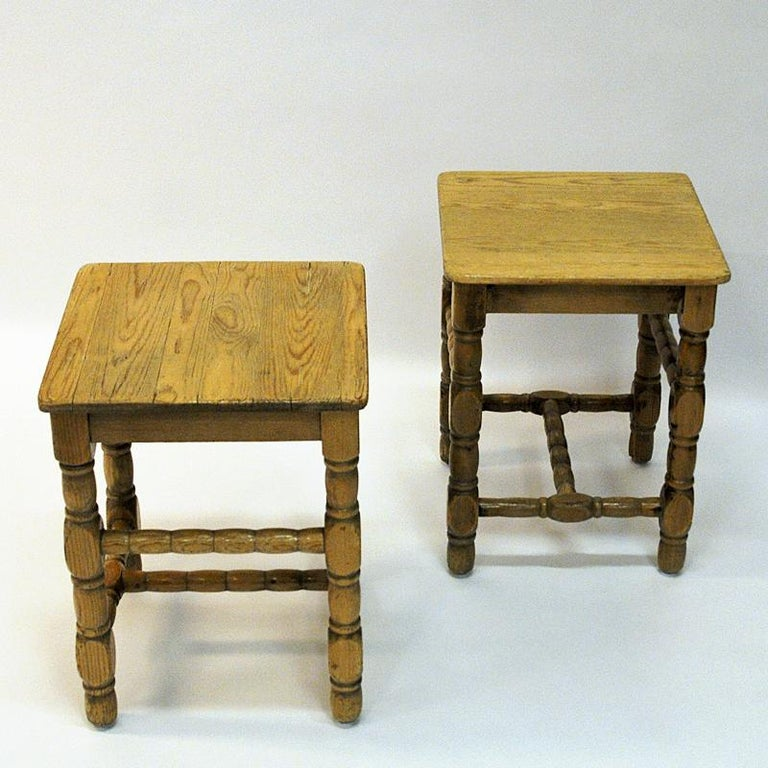 Early 20th Century Swedish Pine Stool Pair in Barock Style, 1920s