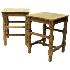 Swedish Pine Stool Pair in Barock Style, 1920s
